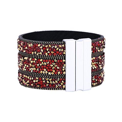 Morella Damen Glitzerarmband breit verziert mit Zirkoniasteinen und Magnetverschluss Gold rot