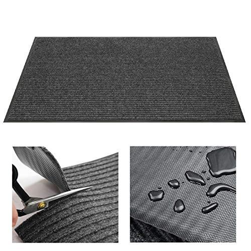 iEago RC Felpudo a medida de PVC con doble franja, impermeable, antideslizante, para escalera/pasillo/balcón, cuarto de baño/dormitorio/sala de estar – 40 x 60 cm