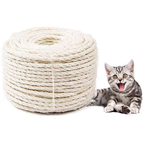 WELLXUNK Cuerda para Gatos,6MM*20M Cuerda de sisal, Yute Cuerda,Cuerda de Sisal Gatos,para Reparar y Reemplazo de Gato Rascarse Pilar, Rasguño Árbol,Balcón Barandilla, Candelabro Decoración