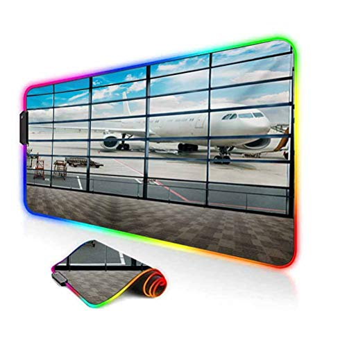 RGB Gaming Mouse Pad,China Shangai Airport with Big Jet Plane Wanderlust Traveller Photograph Soft Computer Keyboard Mouse Pad,35.6'x15.7',for Game Players,Office,Study White and Sky Blue