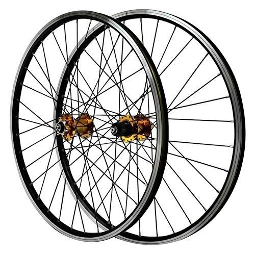 YQQQQ Juego de Ruedas MTB V Brake 26 Pulgadas, Doble Pared, 6 Clavos, Freno de Disco, Ruedas Híbridas/para Ciclismo (Color : Gold, Size : 26inch)