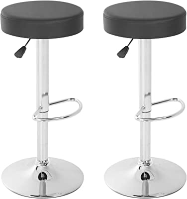 ALPHA HOME Swivel Bar Stool Counter Height Round PU Leather Adjustable Chair Pub Stool with Chrome Footrest Black, 1 pc