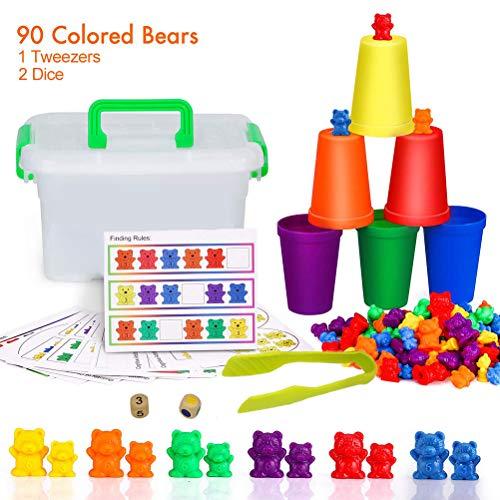Daxoon Counting Bears 90 PCS Matching Sorting Cup Clasificación y apilamiento de Juguetes para niños Regalo de cumpleaños