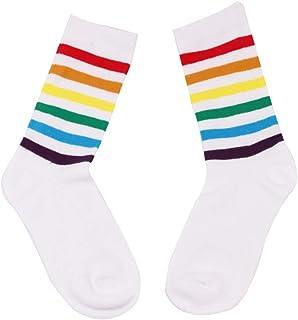 KESYOO, KESYOOCalcetines hasta la rodilla de algodón con rayas de algodón para niñas de las mujeres Calcetines altos (Negro)