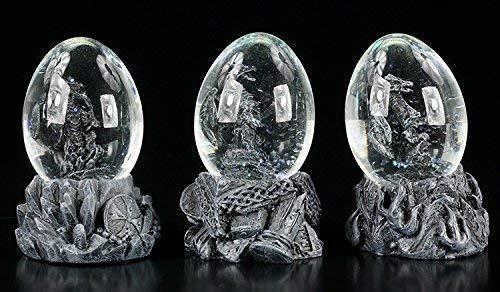 Drachen Figuren in Eiern | Schneekugel 3er Set | Gothic Fantasy Deko schwarz