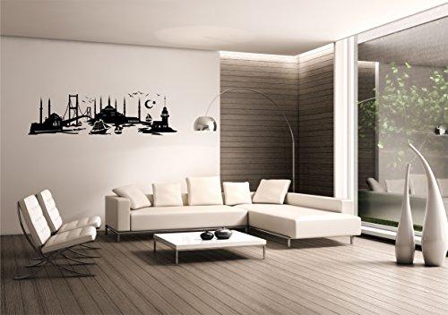 Saphir Design Wandtattoo Istanbul Skyline Türkei WT 06, Schwarz Matt (100x30)