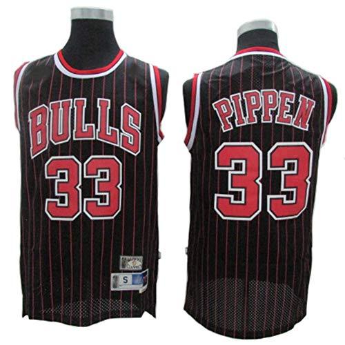 YDYL-LI Jerseys De Baloncesto De Los Hombres, NBA - Chicago Bulls-Scottie Pippen # 33 - Camiseta Sin Mangas De Tejido De Malla Transpirable Unisex,Negro,L(175~180CM)