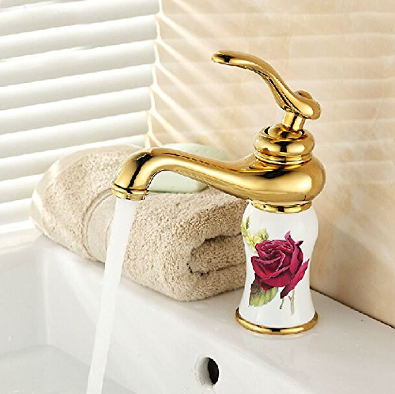 U-Enjoy Beautifull Flower Printing Top Quality Sink Faucet Deck Mount Single Handle Decorative Bathroom Mixer Taps (Free Shipping)