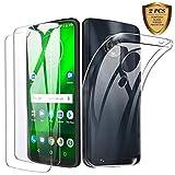 Motorola Moto G7 / Moto G7 Plus Panzerglas Hülle, [1 Handyhülle + 2 Schutzfolie] Folie Glas 9H Festigkeit Anti-Kratzen, Schutzhülle Ultra Dünn TPU Silikon Hülle Transparent für Motorola Moto G7/G7 plus