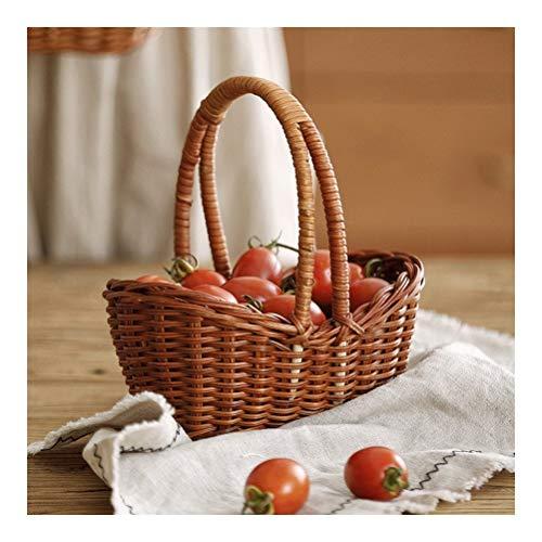 Cesta de almacenamiento tejida a mano para verduras, frutas, cesta de ratán, cesta multifuncional, objetos pequeños, madera, natural, Small