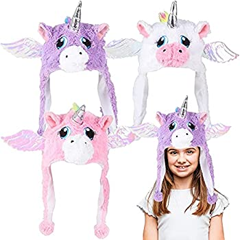 ArtCreativity Unicorn Plush Hats for Kids and Adults Set of 3 Hats with Horns and Wings Cute Unicorn Costume Accessories for Girls and Boys Unicorn Party Supplies Party Photo Booth Props