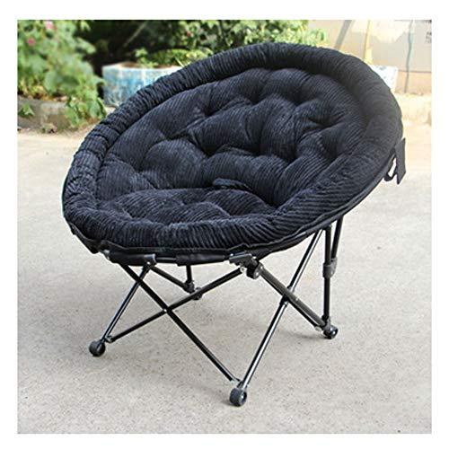 LSF Mobiler Mondstuhl Fauler Klappstuhl Space Chair Außen Klappstuhl Angeln bewegliche Aluminiumlegierung Aufstockung Ultrarücken Freizeit Breathable Moon Chair (Color : Black)