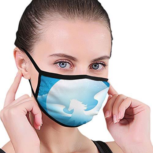 N/A Volwassen Unisex Wasbaar Herbruikbaar Polyester Anti Stof Mond In Packs Gevleugelde Paard Blauwe Sterrenmaan