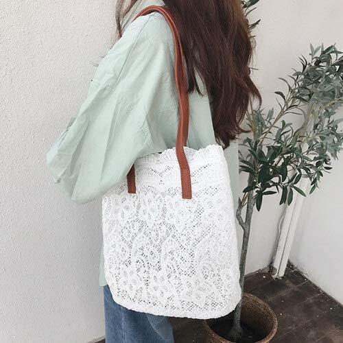 Summer 2 unids/sets Chic Girl Lace Bolso de hombro para mujer, bolso de mano femenino, gran capacidad, plegable, bolsa de viaje de playa (color: blanco)