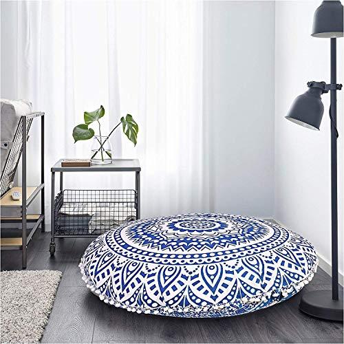 Radhykrishnafashions Indian 32' Large Hippie Mandala Floor Pillow Cover Cushion Cover Round Bohemian Yoga Decor Floor Cushion Case (Blue Ombbra)