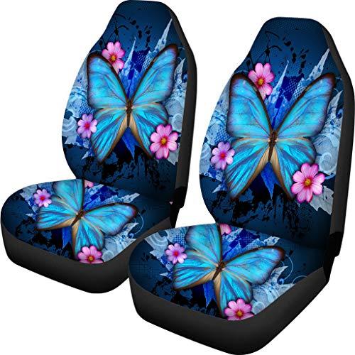 spArt Auto Sitzbezüge-Set, Universal Gitter Autositzbezüge Set für Auto Vordersitz Autositzbezug , 2-Teiliges Set (Farbe : Schmetterling, Blau)