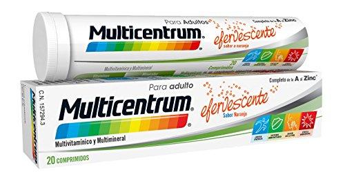 Multicentrum, Complemento Alimenticio con 13 Vitaminas, 11 Minerales y Luteína, para Adultos y Adolescentes a partir de 12 años, con Sabor a Naranja - 20 Comprimidos Efervescentes