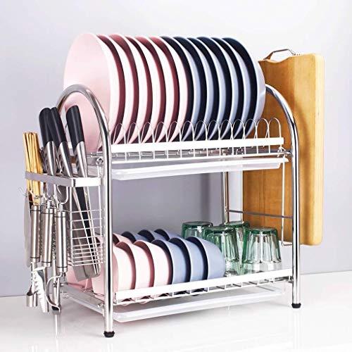 JJJJD 2 Tier Escurridor con bandeja de rack placa de secado con el sostenedor del utensilio, Chrome final, Silver