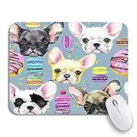NINEHASA 可愛いマウスパッド カラフルなかわいい犬フレンチブルドッグ水彩子犬甘いデザート滑り止めラバーバッキングコンピューターマウスパッドノートブックマウスマット