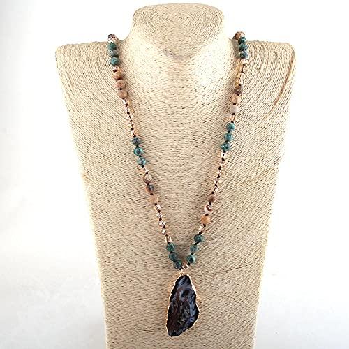 Collares pendientes de piedra Druzy irregular anudados largos de piedra de joyería-1_CHINA_88cm