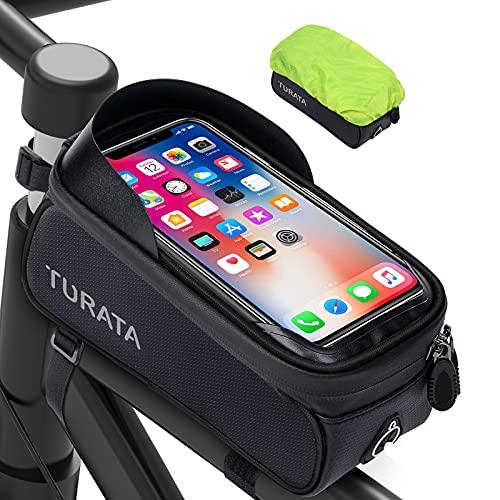 TURATA Bike Frame Bag, Waterproof Bike Phone Bag Bike Phone Holder, Handlebar Bag with Sensitive Touch Screen, Bicycle Accessories for iPhone 11 XS Max XR Samsung Below 6.5 Inch