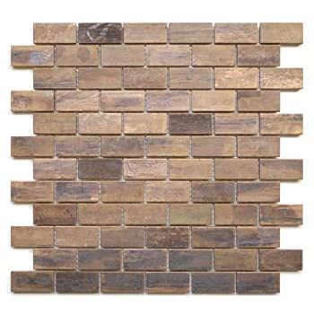 Medium Brick Antique Copper Mosaic Tile - Kitchen Backsplash/Bath Backsplash/Wall Decor/Fireplace Surround