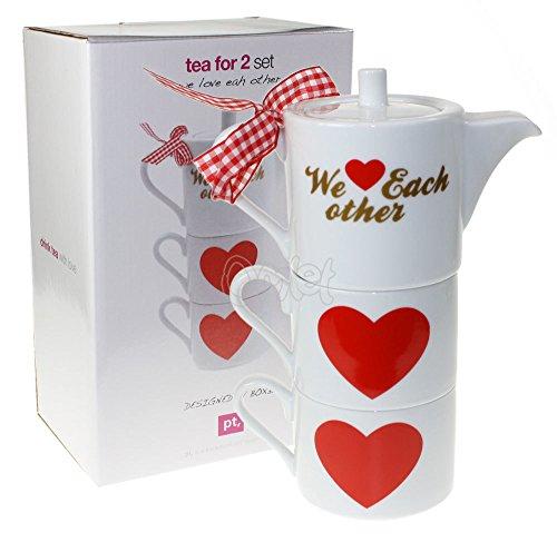 pt, PT1607 Set Thé pour 2 We Love Each Other Porcelaine Box 32 Design Hauteur: 20 cm Diamètre: 8 cm