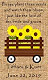 Wedding Wildflower Seed (seeds included) Packet Favors 100 qty. Personalized-Burlap Sunflower Wagon Design 6 verses to choose