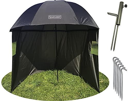 SAX CARP Paraguas de pesca Ø250 cm con Capa, Paragüero y Clavijas, Protección Contra la Lluvia, el Viento y los Rayos UV, 3 Hombres con Equipo de Carpa + Bolsa de Transporte GRATUITA 90409