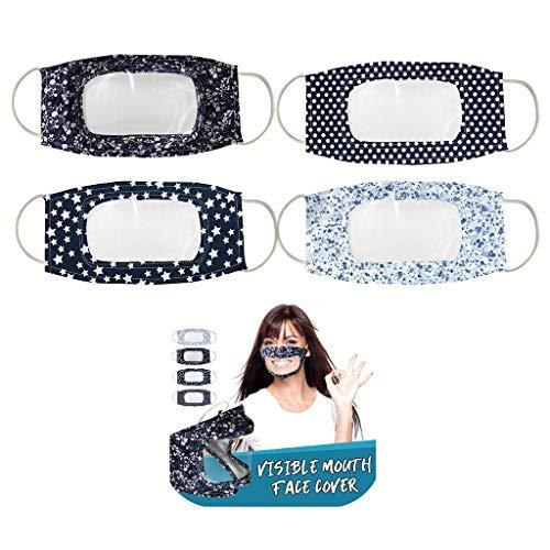4 Stück Transparente Lippen Mundschutz mit klarem Fenster, Anti Staub mundschutz waschbar mit Motiv Wiederverwendbare mundbedeckung Lip Speaking Für Gehörlose