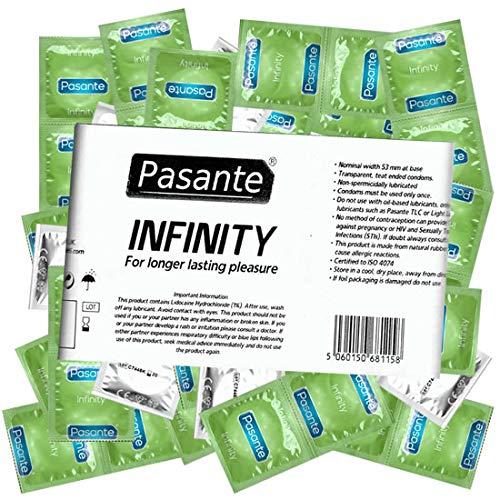 Pasante Infinity (Delay), aktverlängernde Kondome mit Wirkstoff - Orgasmus verzögern - länger durchhalten für optimale Befriedigung, 1 x 144 Stück