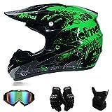 Motocross Helme Downhill Helme & Endurohelme Jugend Kinder Offroad Helm Motocross Gear Combo (L)