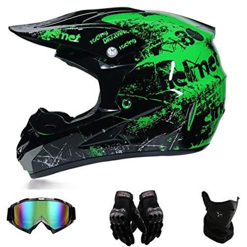 GD-SJK Mopedhelm Motocross Helm Herren Damen Fullface Motorrad DH Cross Offroad Enduro Mountainbike Helme mit Visier Brille Handschuhe Maske,Outdoor Adult Full Face MX Helm (Grün, S)
