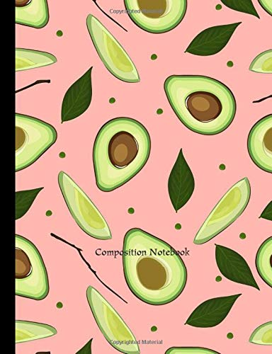 Regular Composition Notebook: Avocado fruit Pink seamless cover composition books college ruled