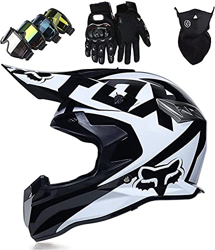 Casco Motocross Niño 5~12 Años ECE Homologado Casco Moto Integral Unisex para Moto De Cross Descenso Enduro MTB Quad BMX Bicicleta (Gafas+Máscara+Guantes) con Diseño Fox - Negro Blanco,L