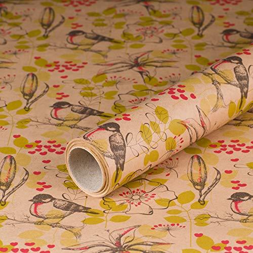 Geschenkpapier Rotkehlchen, Kraftpapier, glatt, 60 g/m², Geburtstagspapier, Vintage - 1 Rolle 0,7 x 10 m
