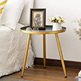 Round Side Table, Metal End Table, Nightstand/Small Tables for Living Room, Accent Tables,...