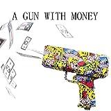 Motto.H Juguete de Pistola de Dinero, Pistola de Efectivo de Mano/dispensador de Billetes Falsos/Tirador de Dinero - Papel Moneda en Aerosol, Despedidas de Soltera