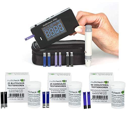 Lifetouch Multicheck PRO (Komplett-Set) mit 25 Blutzucker + 25 Harnsäure + 10 Cholesterol Testsensoren + Stechhilfe Varioclix + Lanzetten + Tasche ┇ Für Zuhause oder Arztpraxis