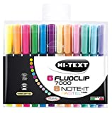 Hi-Text 7300 Note-It Pastel + 7000 Fluoclip 6 evidenziatori colori pastello punta scalpell...
