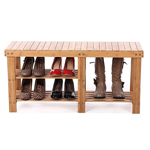 Shoe Storage Bench Seat Organizer Entryway Wood Furniture Shelf Rack Hallway