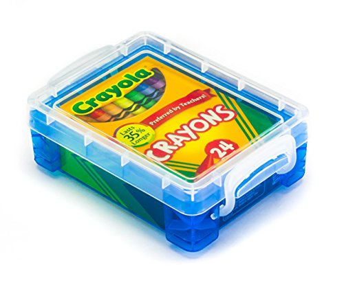 Crayola Crayons 24 Count with Blue Super Stacker Plastic Crayon Box (Bundle)