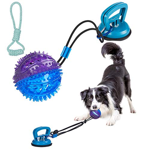 Dog Chew Toys for Aggressive ChewersSuction Cup Dog Chewing Toy Interactive Treats Puzzle Rope Ball Tug of War Dog ToysMultifunction Squeaky Toys Teeth Clean and Food Dispensing for Large Small Dog