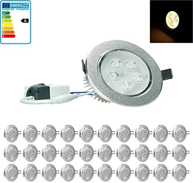 ECD Germany 30-er Pack LED Einbaustrahler 5W 230V - Rund 11cm - 353 Lumen - Warmwei 3000K - schwenkbar 30° - IP44 - Einbauleuchte Leuchtmittel Lampe Spot