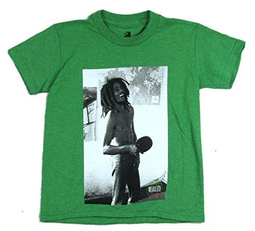 Bob Marley Ping Pong Pic Image Kids Youth Green T Shirt (L)