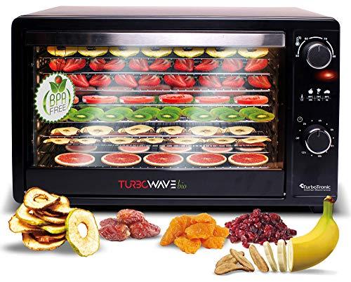 TurboWave BIO Dörrgerät komplett aus Metall, Dörrer mit 8 Einlegeboden aus Edelstahl, Dörrautomat für Lebensmittel inkl. Timer und Rezeptheft