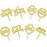 8 Pack Gold Happy Birthday Cake Toppers set, Double-Side Acrylic Cake Toppers...