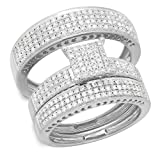 Dazzlingrock Collection 1.10 Carat (ctw) 10K Round Diamond Ladies & Mens Micropave Engagement Ring Trio Set Band 1 CT, White Gold