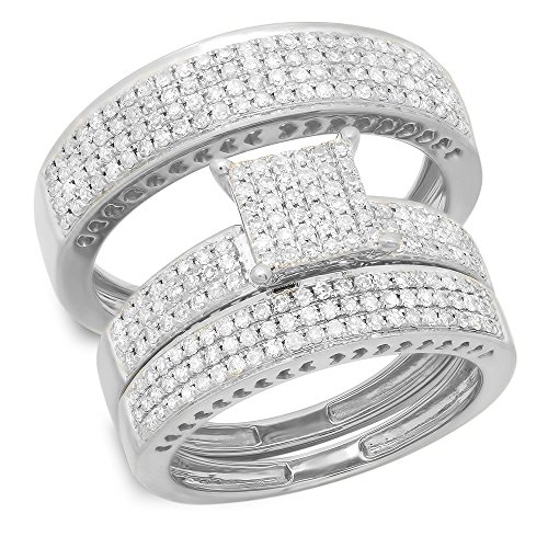 Dazzlingrock Collection 1.10 Carat (ctw) 10K Round Diamond Ladies & Mens Micropave Engagement Ring Trio Set Band 1 CT, White Gold