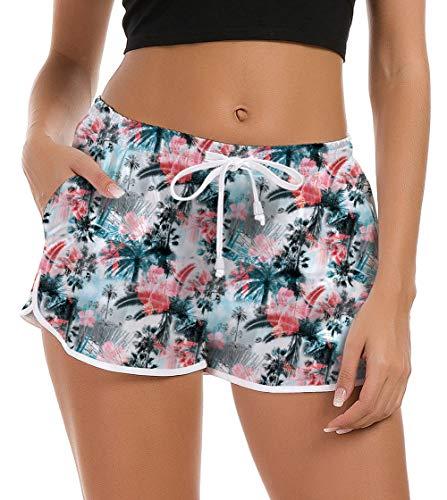 Fanient Frauen Damen Junior Mädchen Hawaii Hotpants Shorts Badehose 3D Print Hawaii Style Bademode Bottom Sommer Shorts Quick Dry Loungewear Shorts für Laufen Yoga